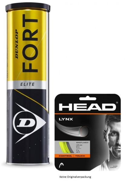 Dunlop Fort Elite 4er gelb mit 1 Set 12m Head Lynx 1.25 gelb