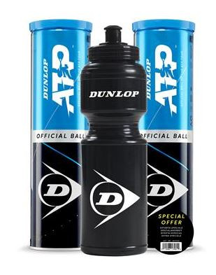 Dunlop ATP  2 x 4er Dose mit Dunlop Trinkflasche