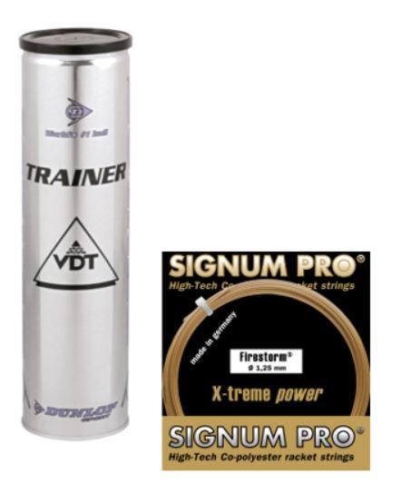 Dunlop Trainer 4er mit 1 Set Signum Pro Firestorm 1.25