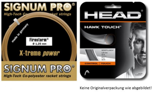 Saiten Testpaket SAFOSTP1900: 3 Sets Signum Pro Firestorm 1.25 + 3 Sets Head Hawk Touch 1.25