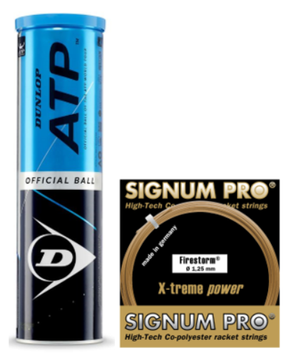 Dunlop ATP 4er mit 1 Set Signum Pro Firestorm 1.25