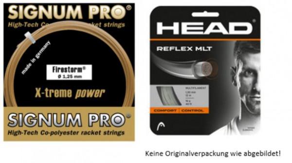Saiten Testpaket SAFOSTP1901: 3 Sets Signum Pro Firestorm 1.25 + 3 Sets Head Reflex MLT 1.30