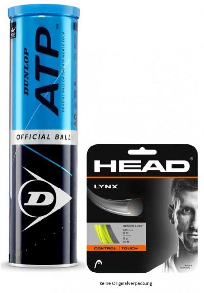 Dunlop ATP 4er gelb mit 1 Set 12m Head Lynx 1.25 gelb
